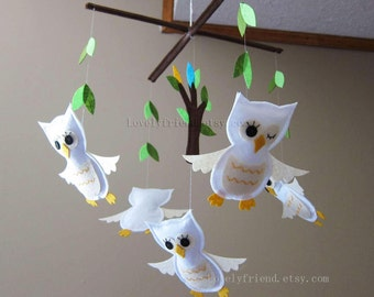 Baby Crib Mobile - Owl Mobile - Little Five White Baby Winking Owls In The Green Jungle (Match your bedding)