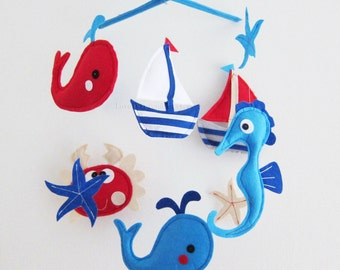 "Baby Mobile - Sea Horse and crab Crib Mobile - Handmade Nursery Mobile - ""Navy and Red Whales and Crab"" (Match your bedding)"