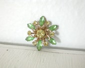 Vintage Green Rhinestone Brooch Flower Pin Snowflake Gold Tone Mid Century Costume Jewelry GallivantsVintage