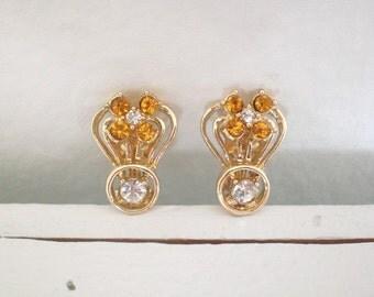 Vintage Citrine Rhinestone Earrings Flower Gold Tone Clip On Mid Century Costume Jewelry GallivantsVIntage