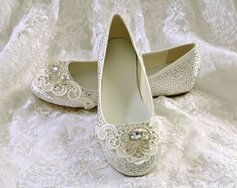 Flat Pump Wedding Shoes- Satin Flat Bridal Shoes- Rhinestone Crystals and Lace-Pink2Blue