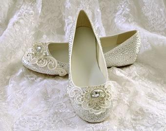 Flat Pump Wedding Shoes  Satin Flat Bridal Shoes  Rhinestone Crystals And  Lace Pink2Blue