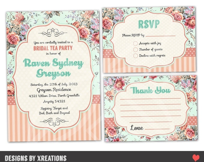 Shabby Chic Tea Party Invitation Suite - Customizable - DIY - Print your own