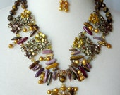 Brown And Gold Statement Necklace, Large Bold Chunky, Autumn Earthtones, Runway Necklace, Artisan One Of  A Kind