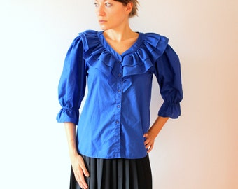 vintage cobalt blue ruffled blouse / electric blue button-up shirt / three quarter sleeves / made in USA