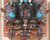 dia de los muertos nicho de todas criaturas - mixed media mosaic