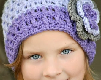 Baby, Toddler, Child, Tween Tricolor Beanie Crochet Hat with Flower in Gray Mist, Orchid, and Amethyst with triple flower with button center