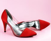 Vintage Red Clear VAMP Pumps Pointy Toe Stiletto LEATHER Shoes // Vintage Clothing by TatiTati Style on Etsy