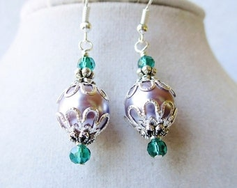 Lavender Glass Pearl & Teal Crystal Layered Silver Drop Earrings, Victorian Style, Gifts For Her
