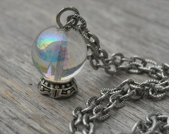 Crystal Ball Necklace Fortune Teller Jewelry Halloween Gypsy Gothic Goth Mystical Wiccan Pagan Wicca Occult Magic Witchcraft Witch Craft