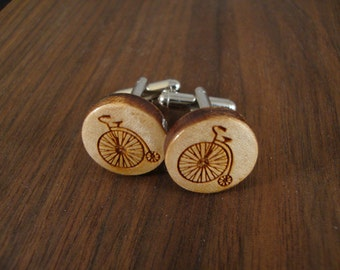 Men's Wooden Cuff Links - Old Bicycle Engraved in Maple Wood - Wedding, anniversary, any Special Occasion