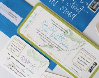Watercolor Boarding Pass Invitation featuring Florida Keys for destination wedding or event (shown with RSVP Postcard and Address Label)