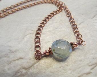 Prehnite Station Necklace in Copper