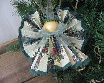 Angel Christmas Tree Ornament U-Pick Ribbon Trim Pinecone and Holly Paper Ribbon Angel Woodland Angel SnowNoseCrafts