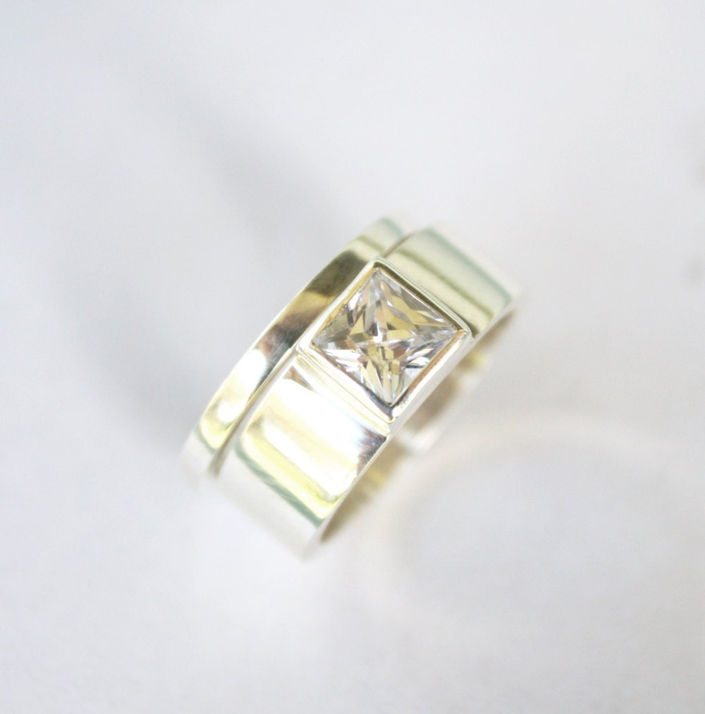 Unique Engagement Ring Square Diamond Ring Chunky Silver Ring