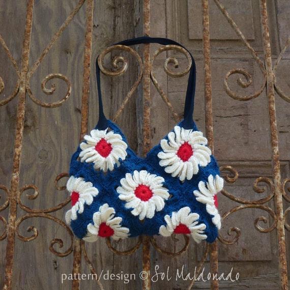 Bag Crochet Pattern PDF - flower granny square crochet purse -  Instant DOWNLOAD