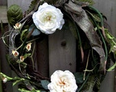 All-season wreath, Snow White's cottage wreath, Who's the Fairest of Them All, year-round wreath, fairy tale, snow white & cream roses
