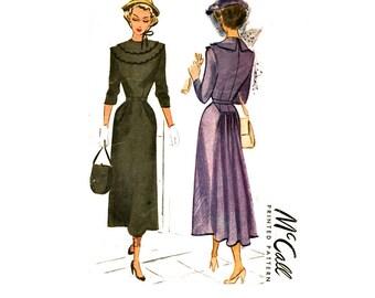 1940s Dress Pattern Bust 34 McCall 7444 Demi Bustle Evening Dress, Pleated Skirt, Wide Scalloped Bertha Collar Womens Vintage Sewing Pattern