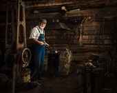 Blacksmith portriait denim brown photography, log barn photograph man working tools rustic old school style rural life farmhouse decor