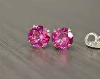 Pink Topaz Earring, large round silver stud, 4.5 tw / 2.25ct tw Pink Topaz
