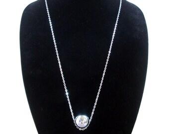 Minimalist ball necklace, silver tone orb, ball pendant, geometric, long modern geo necklace