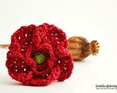 Crochet  poppy flower - brooch - pattern, DIY