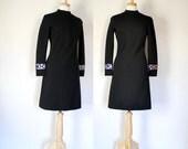 Vintage 60s Mod Black Knit Dress