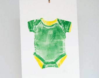 Customizable baby onesy print, rompertje, nursery decor, hand printed wall art, green, yellow
