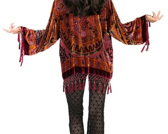SALE 20% OFF // Paisley Velvet Burnout Beaded Fringe Tassel Kimono