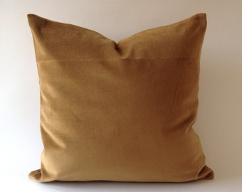 Camel Brown Cotton Velvet Decorative Throw Pillow Cover- 16x16 TO 26x26  Invisible Zipper Closure- - Knife Or Pipping Edge