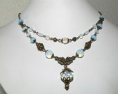 Opalite Moon Stone Vintage Style Antique Brass Statement Necklace