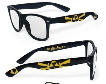 Legend of Zelda Wayfarer glasses birthday gift for her gift for him men student unique custom clear lens Prescription frames geek Triforce