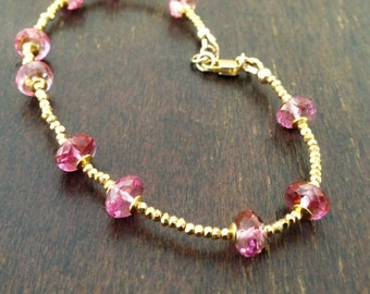 Pink Bracelet - Topaz Jewelry - Gold Vermeil Jewellery - Fine - Gemstone - Luxe - Couture