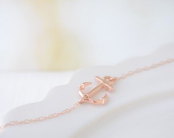 Rose Gold Side Anchor Necklace - Rose Gold, Gold , Silver Anchor - 1222