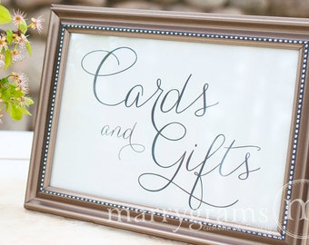Cards and Gifts Table Sign - Wedding Table Reception Seating Signage - Matching Chalkboard Style Numbers Available Card,Gift Sign SS01