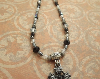 Clearance/Gothic Cross Black and Gunmetal Necklace