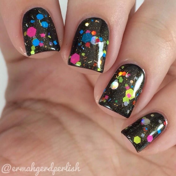 Spectrum Holographic Nail Polish: Hot Air Balloon Neon & Holographic Glitter Jelly 5 Free Nail
