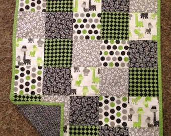 Baby Blanket...Quilt...Whimsical Baby Giraffe...Green and Black...