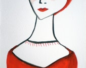 Framed Contemporary Tempera Illustration - Woman -- Fashion Illustration -- Original Art -- Femme Fatale I - Red