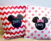 Mickey and Minnie Mouse Chalkboard Vinyl Labels -set of 25 labels - Birthday Party, Playroom, Mickey Mouse, Favor - FREE CHALK MARKER