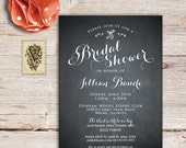 PRINTED Calligraphy Chalkboard Bridal Shower Invitations