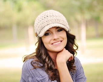 Womens Newsboy Hat, Womens Crochet Hat, Brimmed Beanie Hat, Fall Accessories