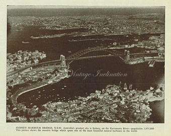 1950s, Sydney Harbour Bridge, photographic bookplate, wall art print, 60 years old