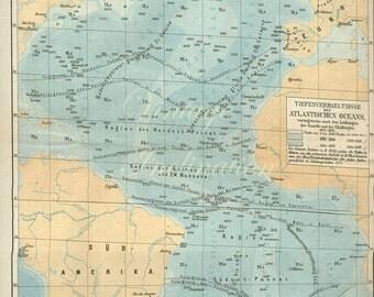 Antique 1876 Atlantic Ocean German pale blue Map