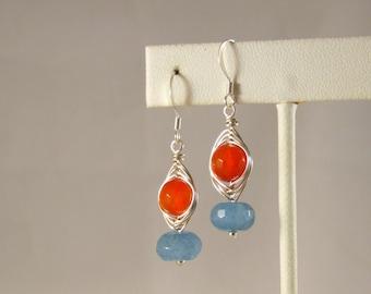Wire Wrapped Gemstone Dangle Earrings