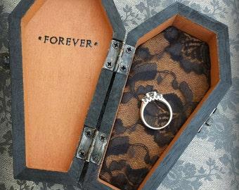 FOREVER Halloween Wedding Ring Bearer Coffin monogrammed pillow alternative ring box