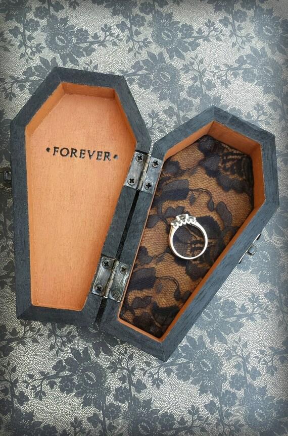 Items Similar To FOREVER Halloween Wedding Ring Bearer Coffin Monogrammed Pil