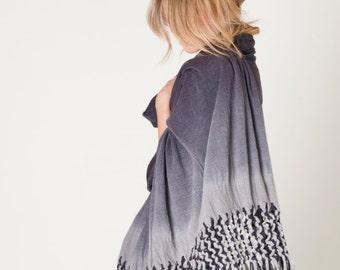 Poncho scarf Ombre gray, Macrame tribal Shawl, Organic Natural Textured Eco Fashion Woman Wrap,  Luxury Accessory, Shibori scarf boho layers