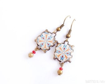 Earrings with ancient tile pattern. Earrings with vintage drawings. Blue beige    Arabesque.