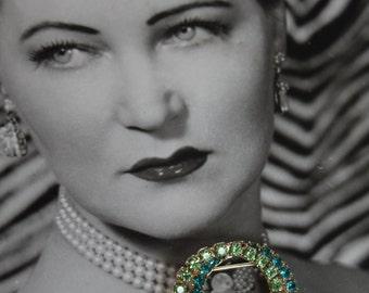 Circa 1950s Double Circle Rhinestone Brooch - Peridot Green and Emerald Green Colors